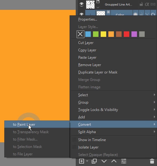 Converting colorize mask to a paint layer
