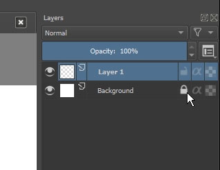 Lock and unlocking layer in Krita