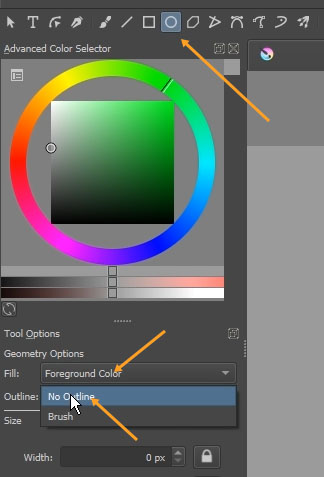 The ellipse tool in Krita