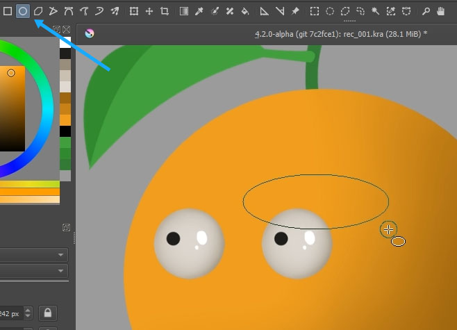 Using the ellipse tool in Krita to create the eyebrow