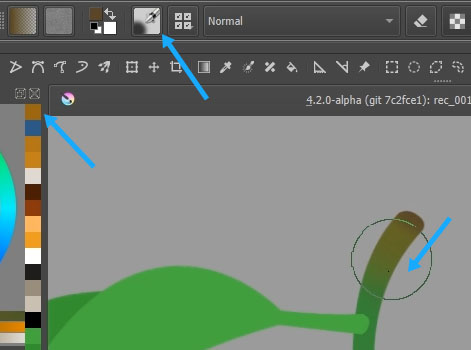 Adding color gradation on the twig using the airbrush preset