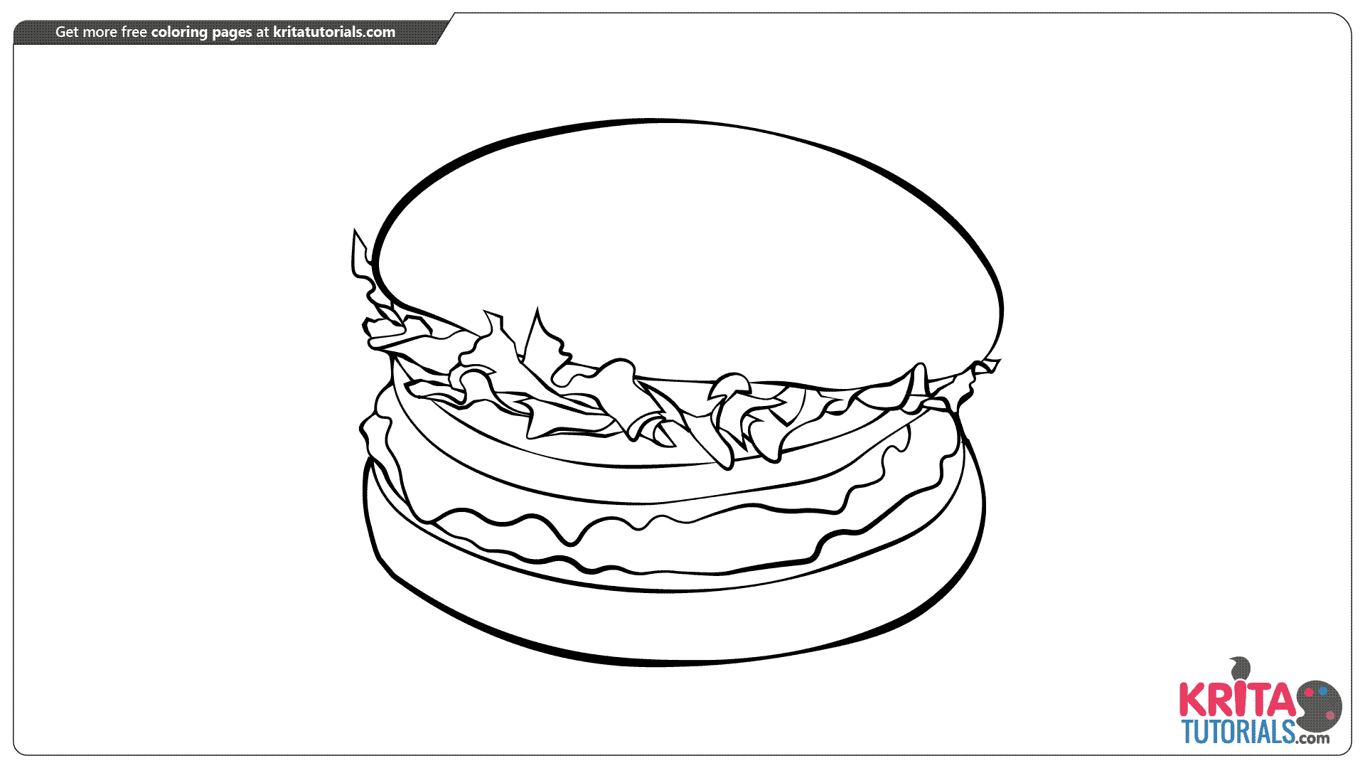 Burger coloring page from kritatutorials.com