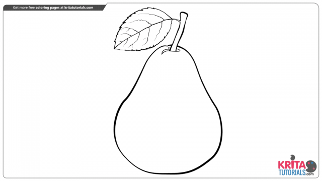 Pear fruit coloring page from kritatutorials.com