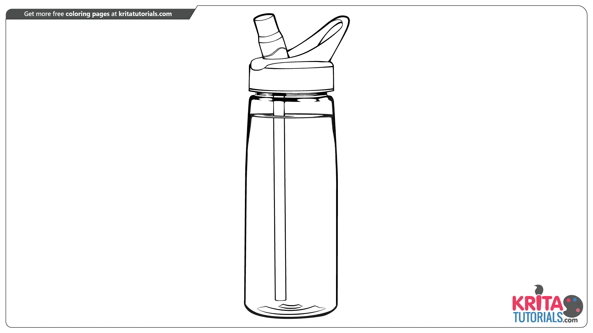 Water bottle coloring page from kritatutorials.com