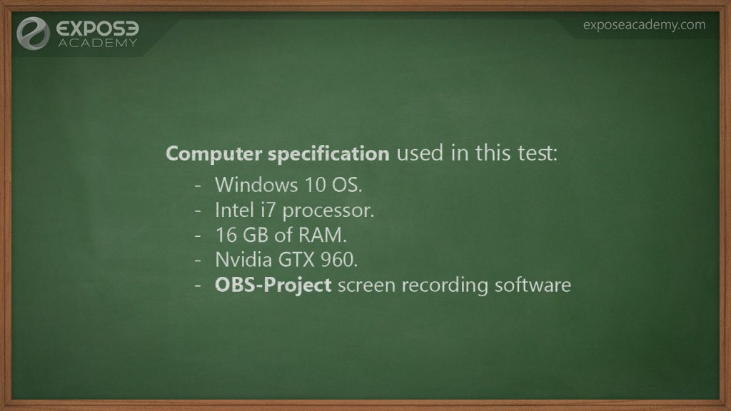 Computer specification used for the test
